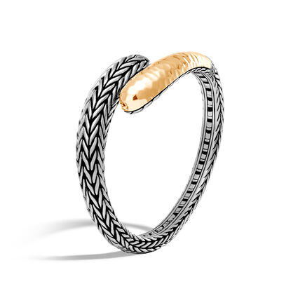 Classic Chain Kick Cuff in Silver and Hammered 18K Gold