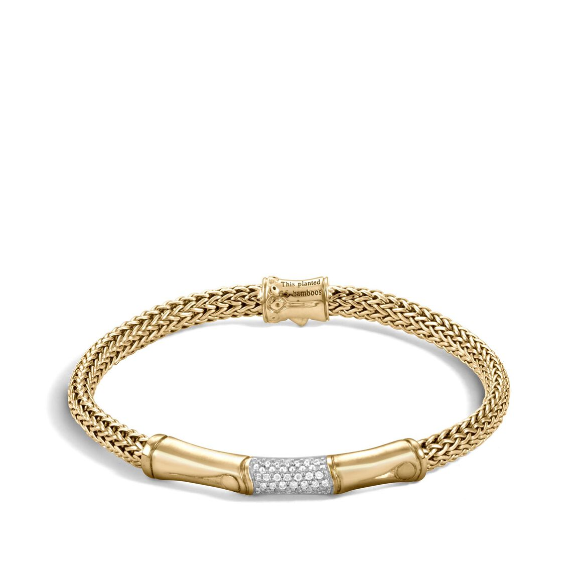 Bamboo 5MM Station Bracelet in 18K Gold with Diamonds
