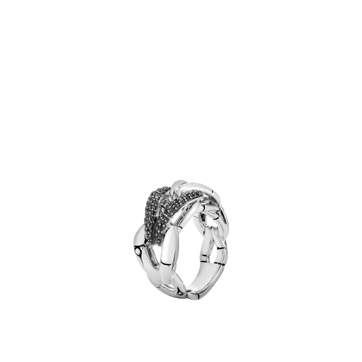 Bamboo Ring in Silver with Black Sapphire