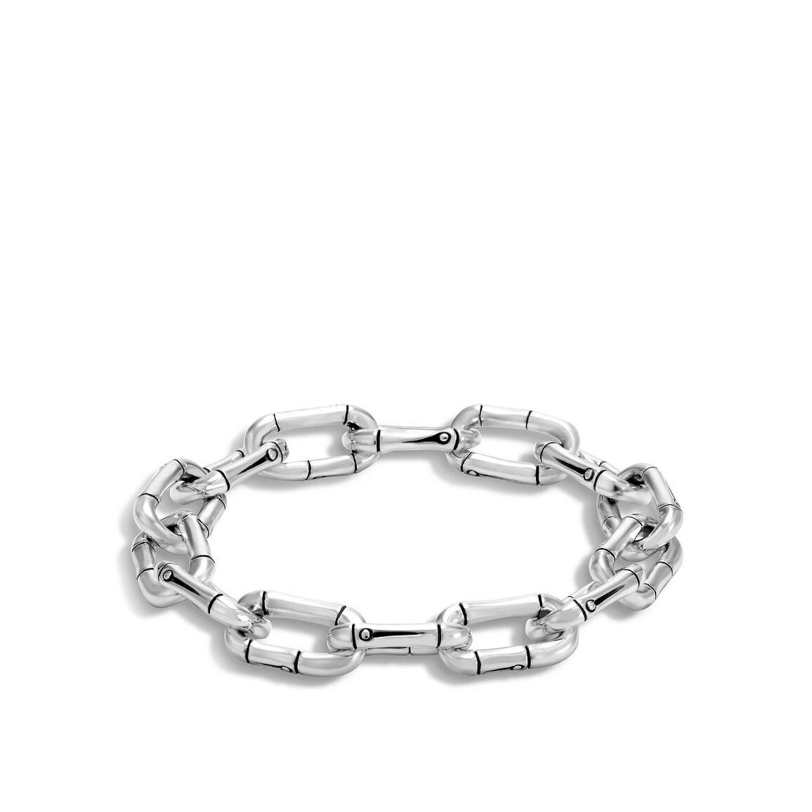 Bamboo 10.5MM Link Bracelet in Silver