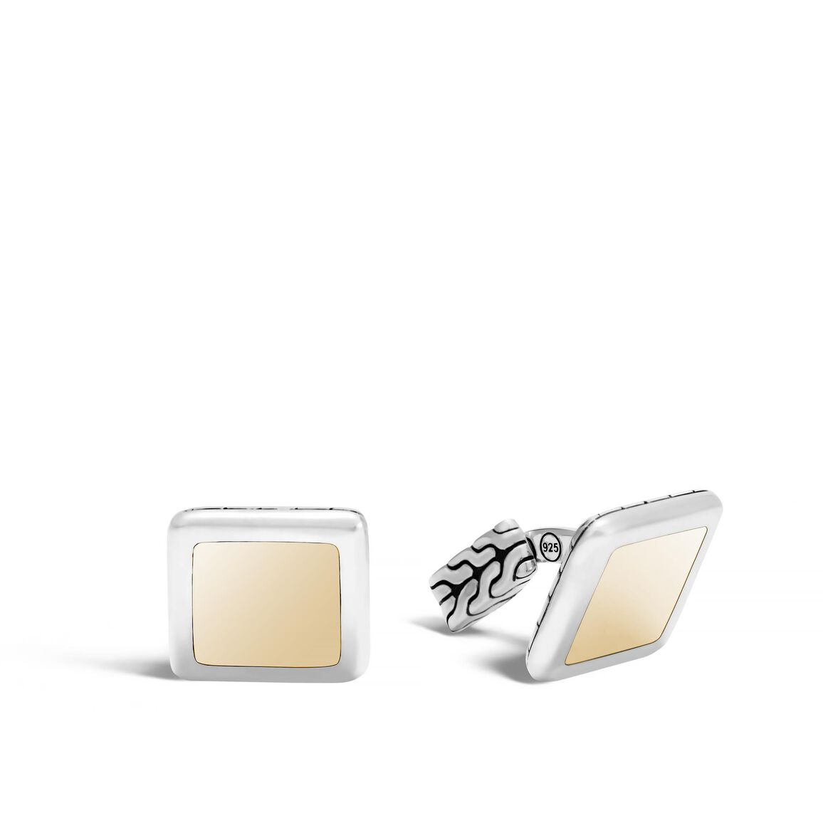 Classic Chain Square Cufflinks in Silver and 18K Gold