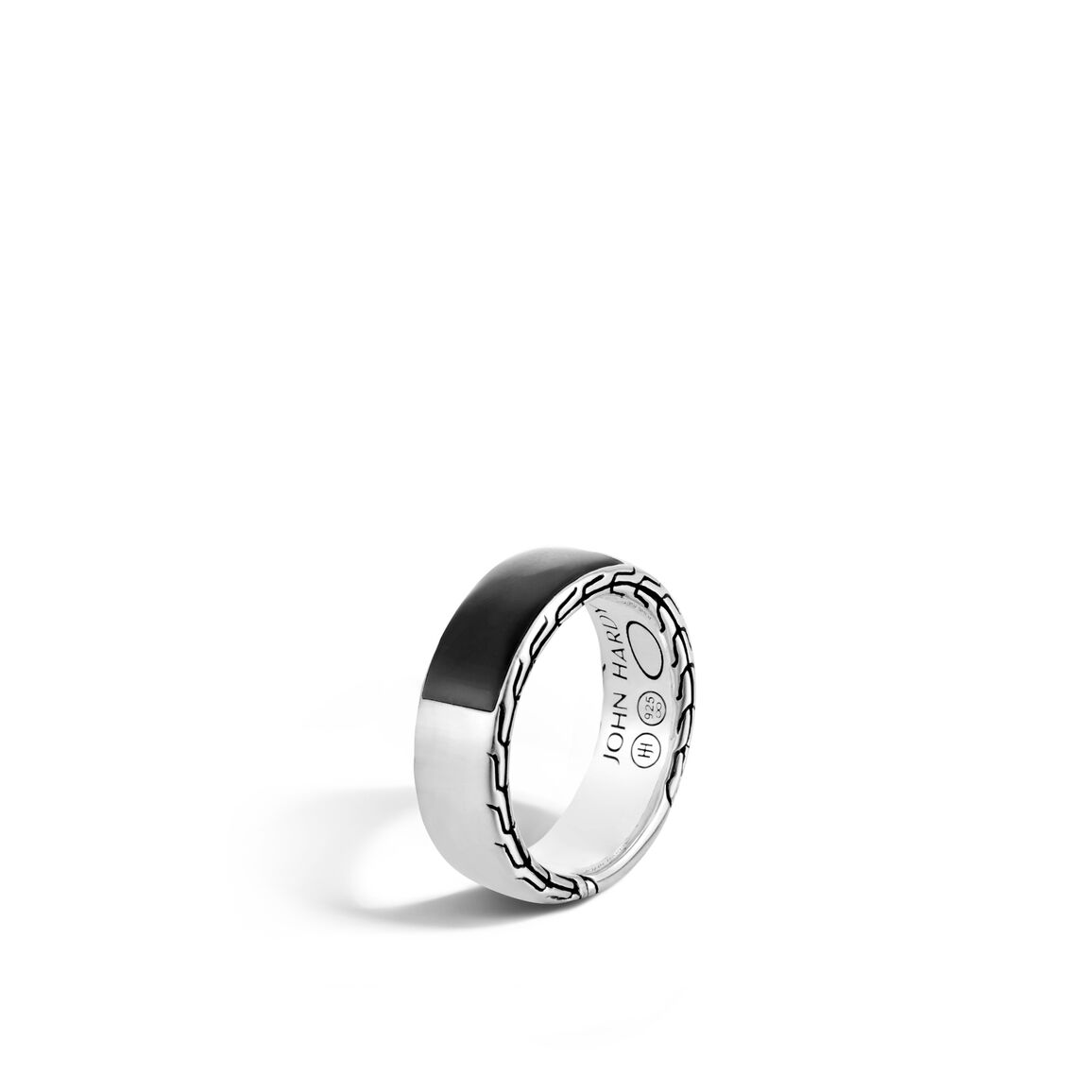 Classic Chain 7.5MM Band Ring in Silver with Gemstone
