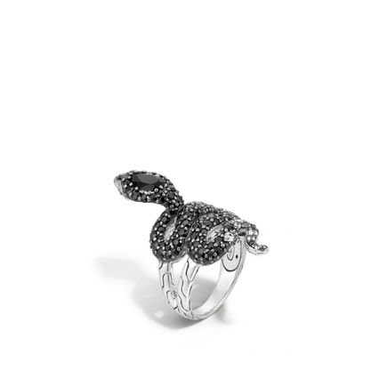 Legends Cobra Ring in Silver with Gemstone and Diamonds