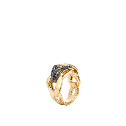Bamboo Ring in 18K Gold with Black Diamonds