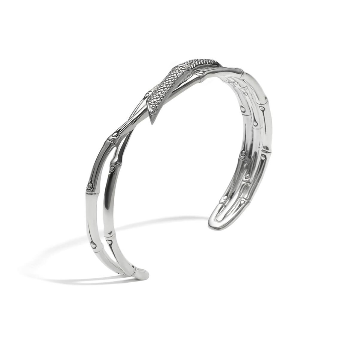 Bamboo 11.5MM Cuff in Silver with Diamonds