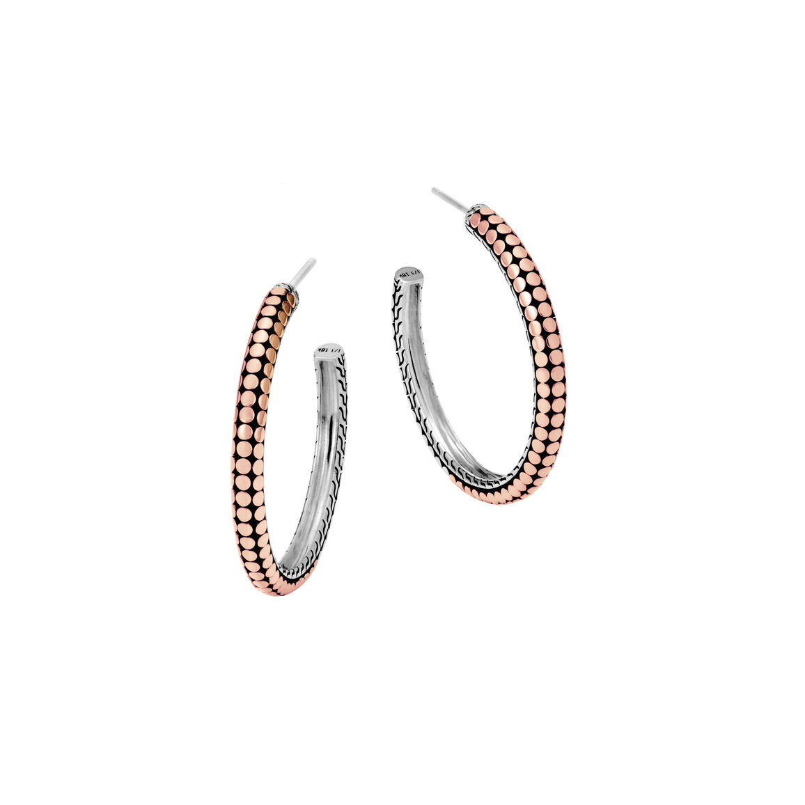Dot Medium Hoop Earring in Silver and 18K Rose Gold