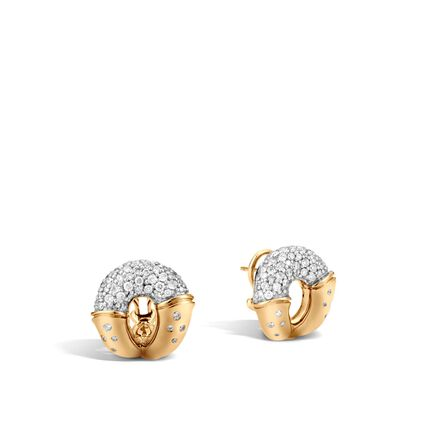 Bamboo Buddha Belly Earring in 18K Gold with Diamonds