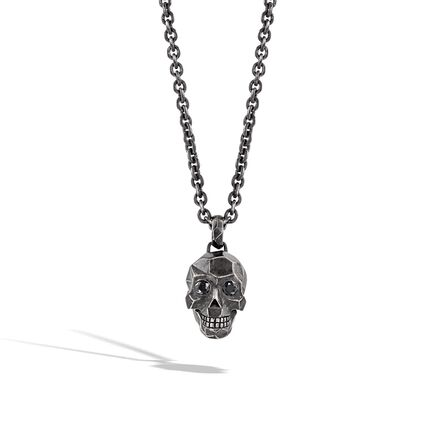Classic Chain Skull Pendant Necklace in Blackened Silver