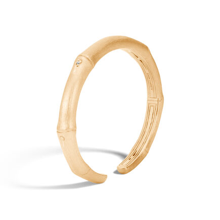 Bamboo 7.5MM Kick Cuff in Brushed 18K Gold with Diamonds
