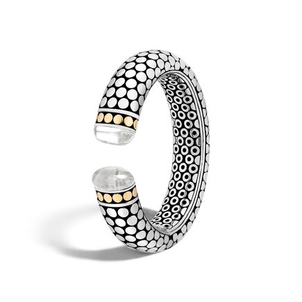 Dot 17.4MM Cuff in Silver and 18K Gold with Gemstone
