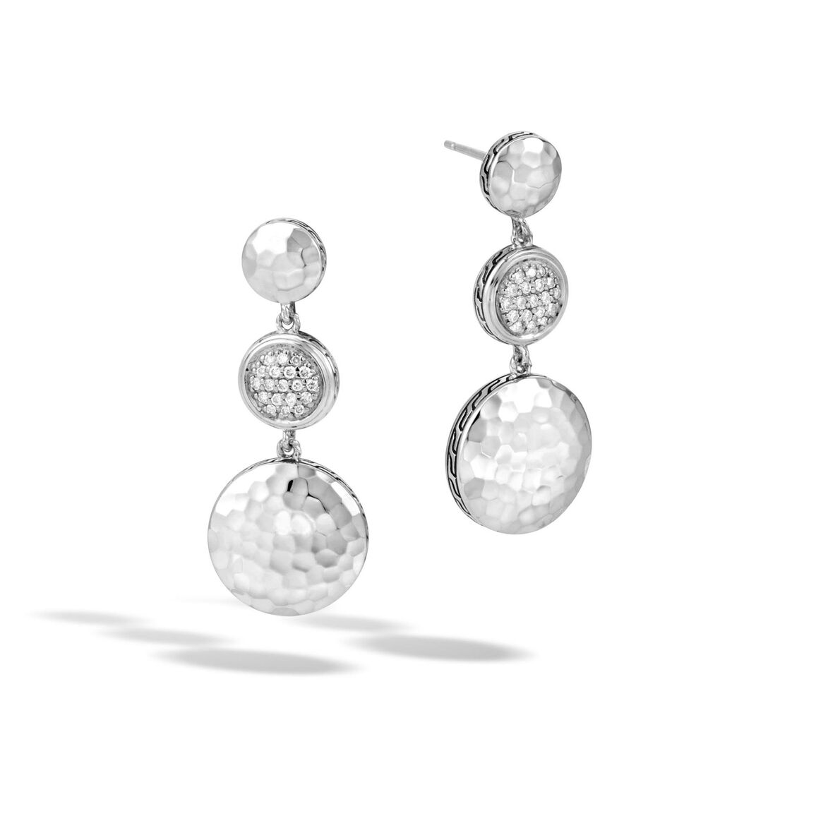 Dot Triple Drop Earring in Hammered Silver with Diamonds