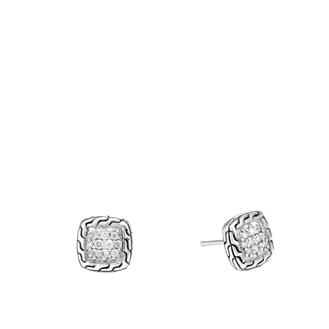 Classic Chain Stud Earrings in Silver with Diamonds