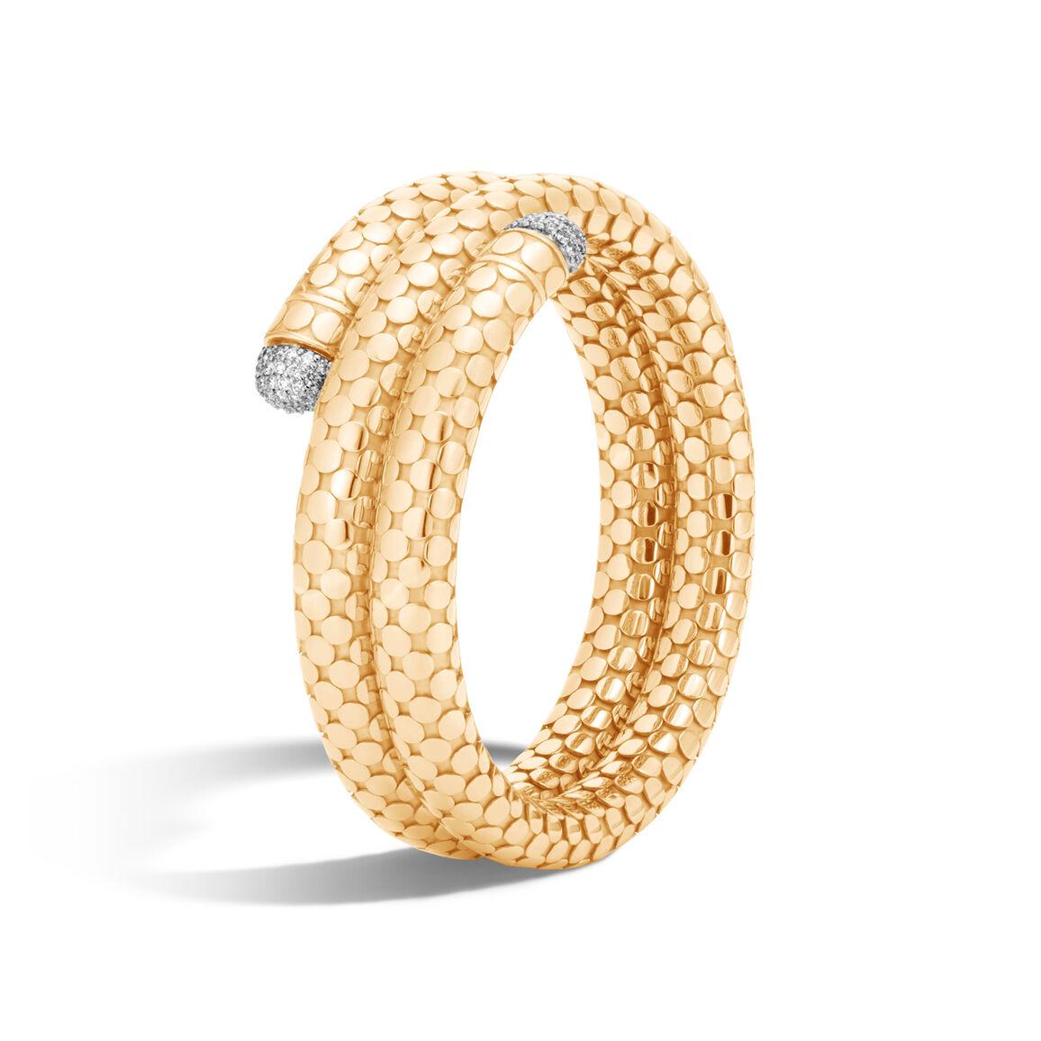 Dot Coil Bracelet in 18K Gold with Diamonds