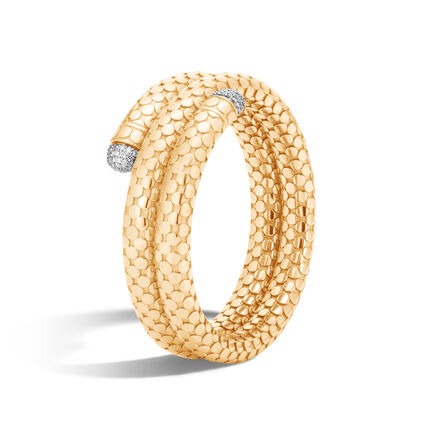 Dot Coil Bracelet in 18K Gold with Diamonds