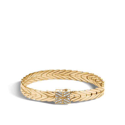Modern Chain 8MM Bracelet in 18K Gold with Diamonds