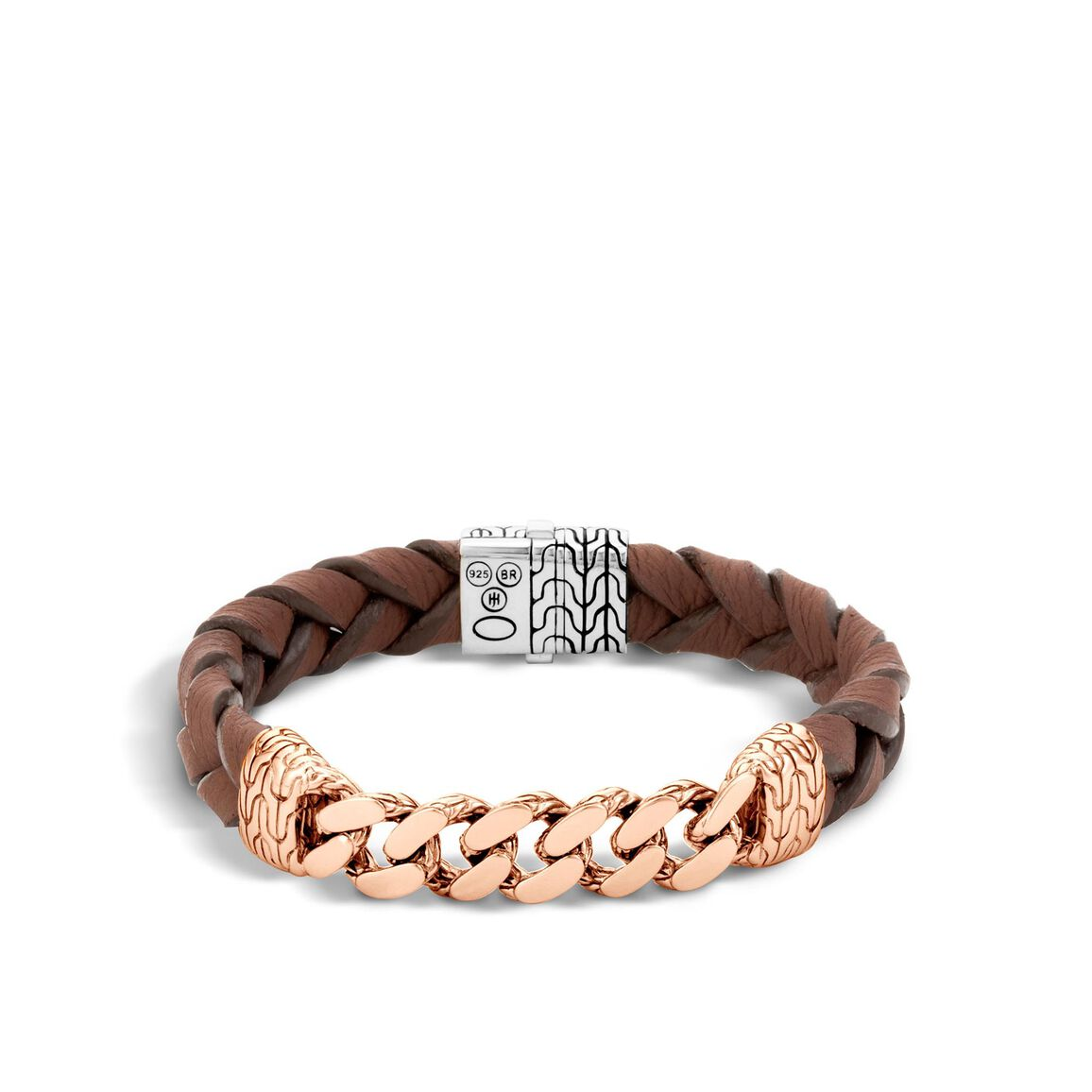 Classic Chain 12MM Station Bracelet, Silver, Bronze, Leather