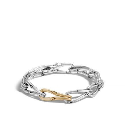 Bamboo 9MM Link Bracelet in Silver and 18K Gold