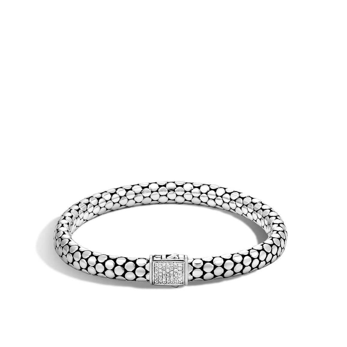 Dot 6.5MM Bracelet in Silver with Diamonds