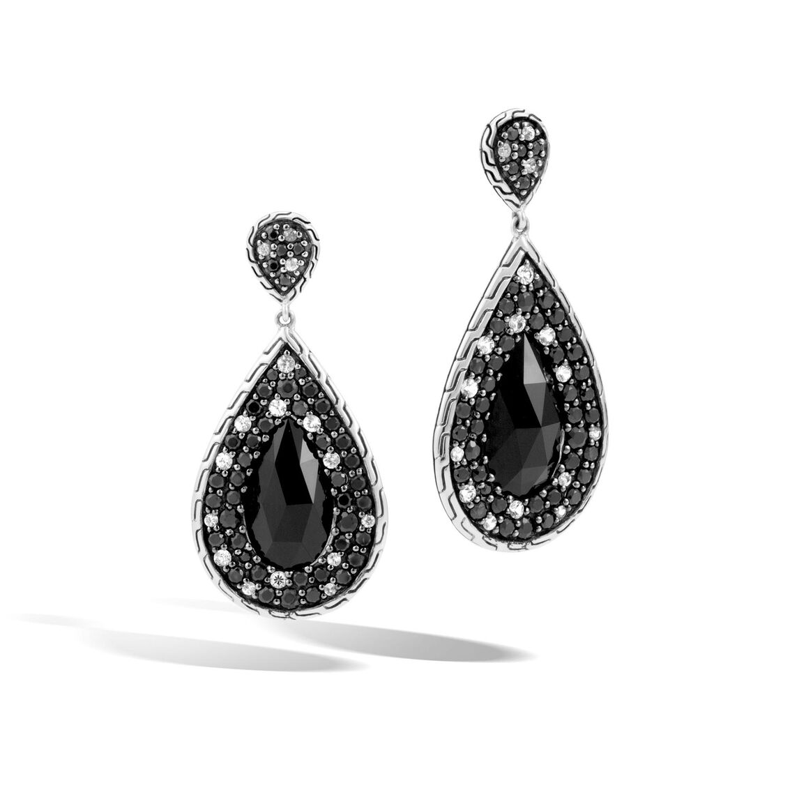 Classic Chain Drop Earring in Silver with 18x10MM Gemstone