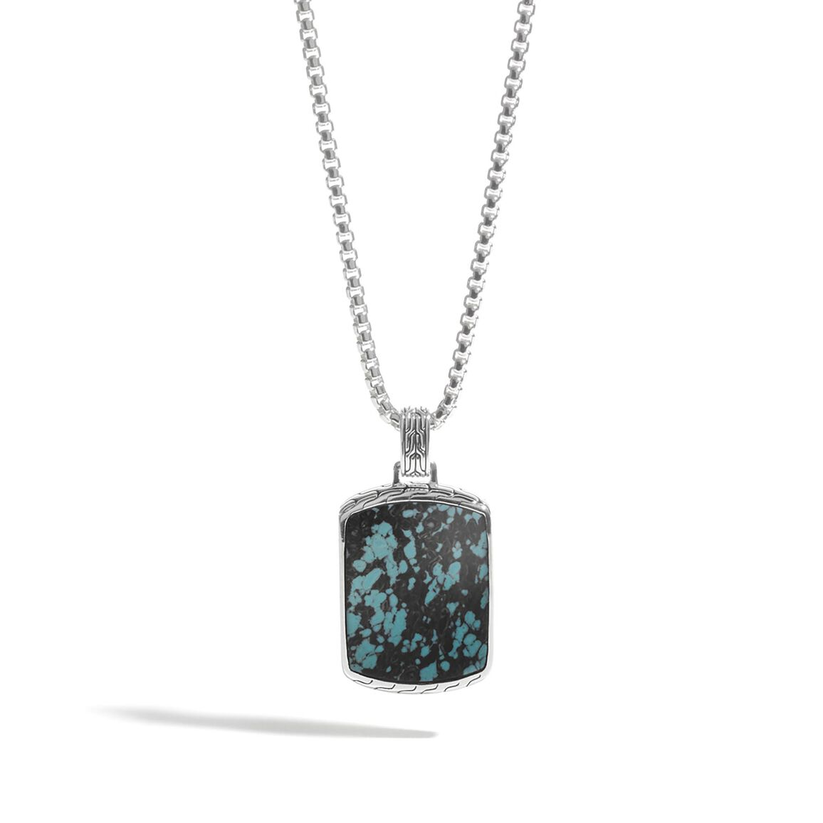 Classic Chain Dog Tag Necklace, Silver with Gemstone