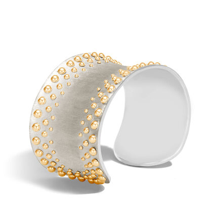 Dot 35MM Cuff in Brushed Silver and 18K Gold