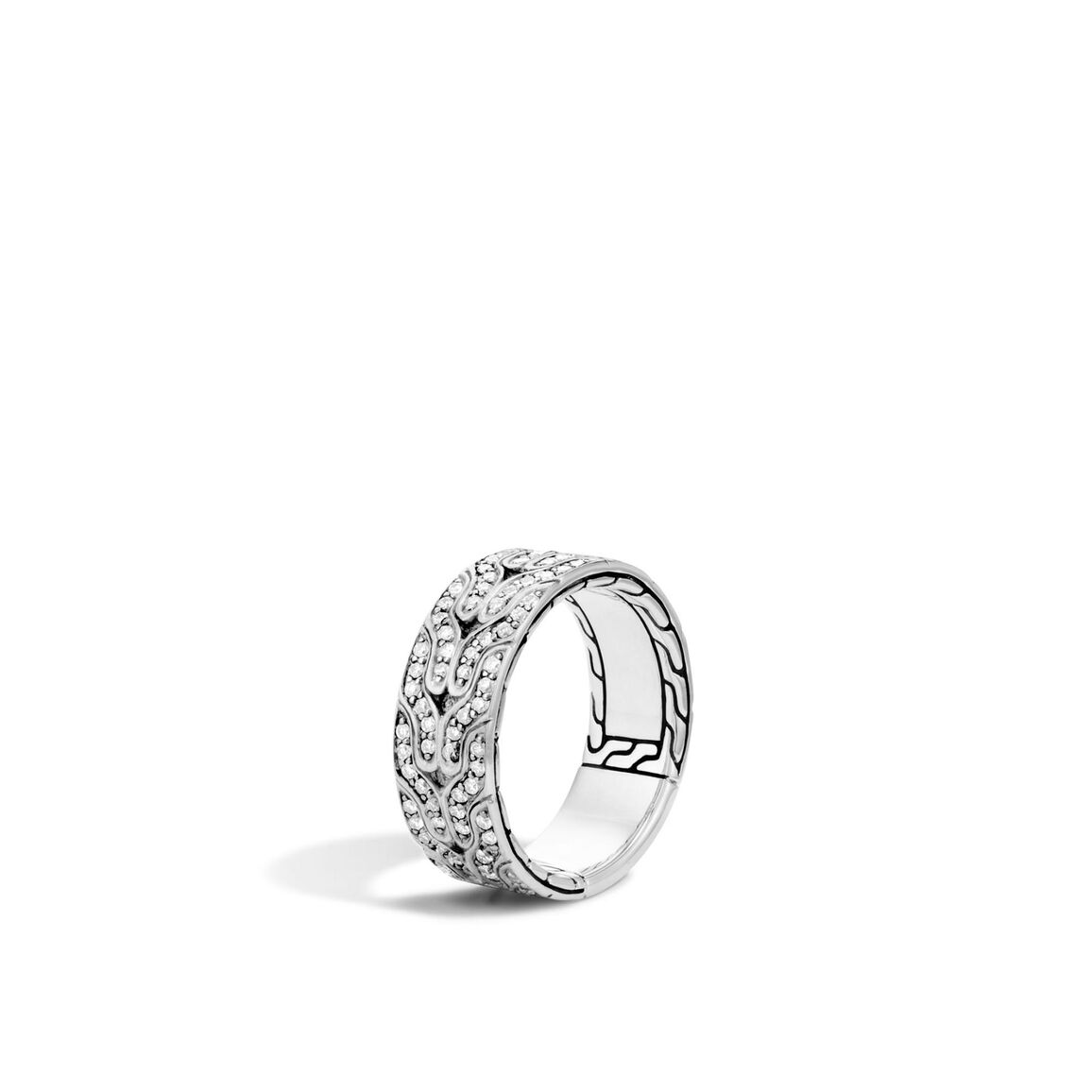 Classic Chain 8.5MM Band Ring in Silver with Diamonds