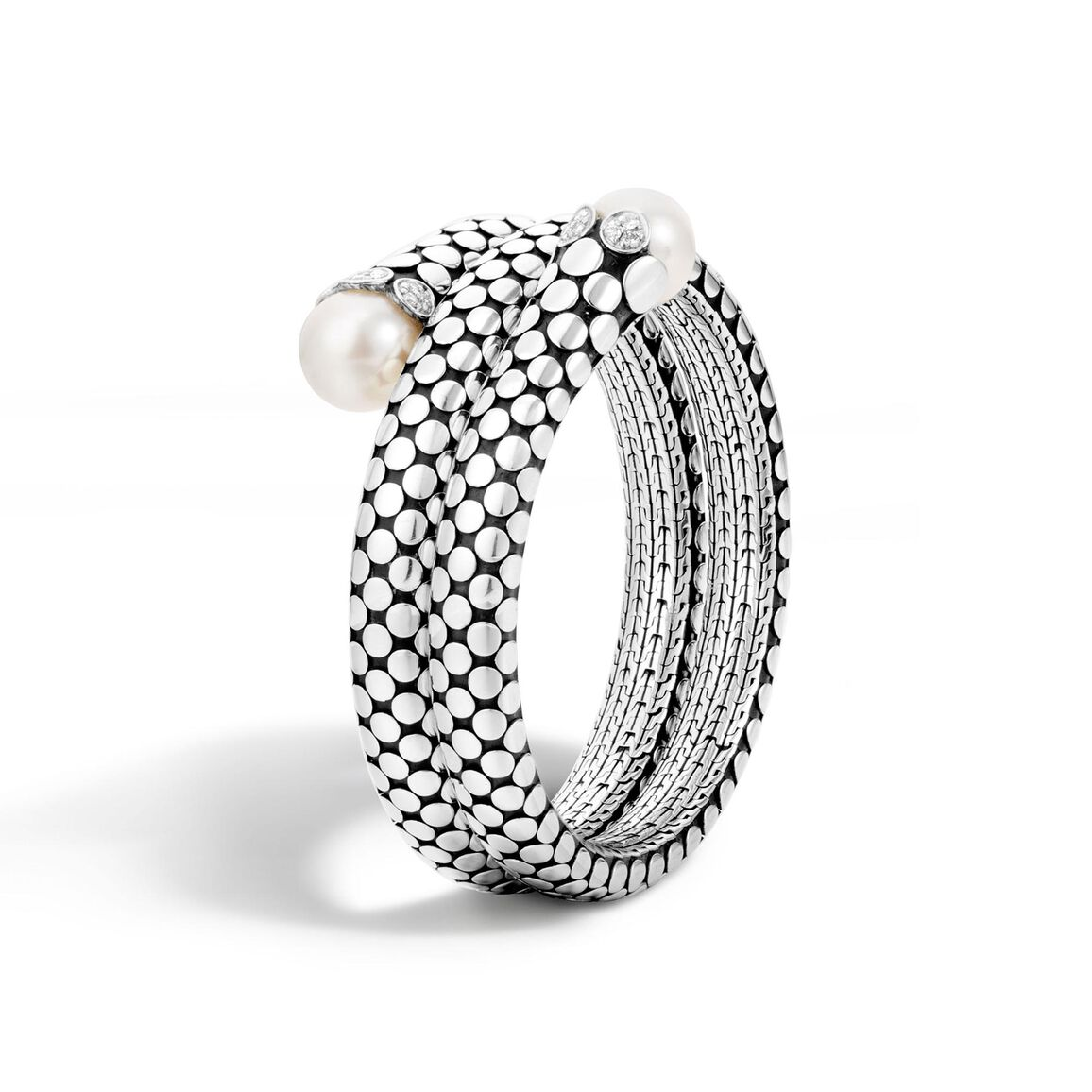 Dot Double Coil Bracelet in Silver with 11MM Pearl, Diamonds