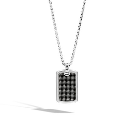 Classic Chain Dog Tag Pendant Necklace in Blackened Silver