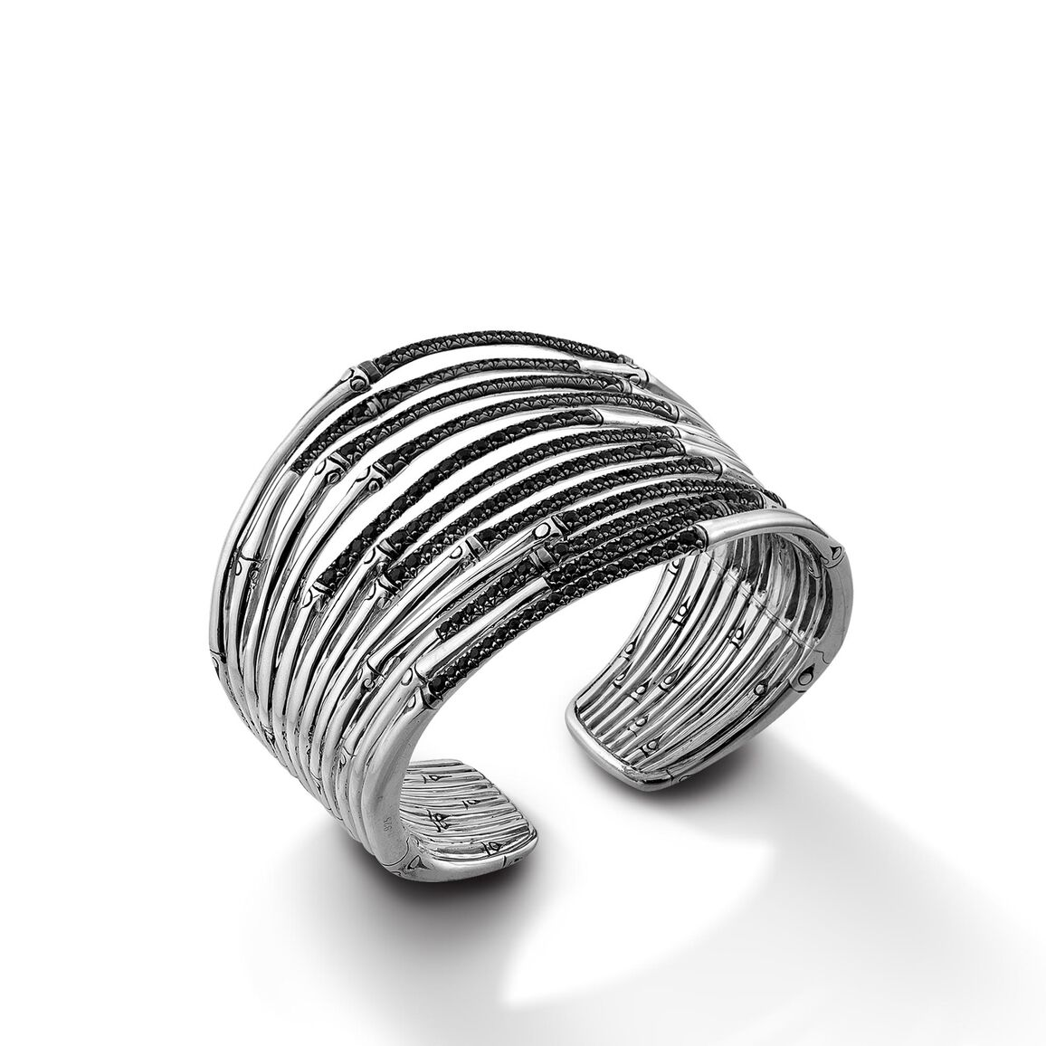 Bamboo 53MM Cuff in Silver with Gemstone