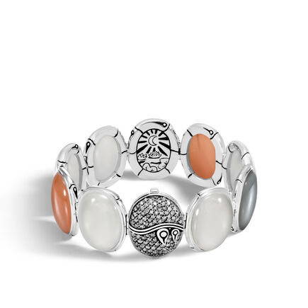 Bamboo Bracelet in Silver with Gemstone and Diamonds