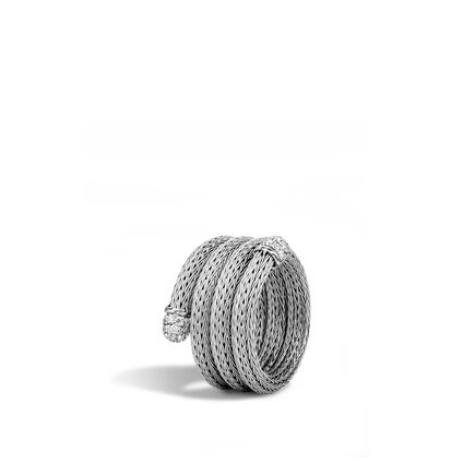 Classic Chain Coil Ring in Blackened Silver with Diamonds