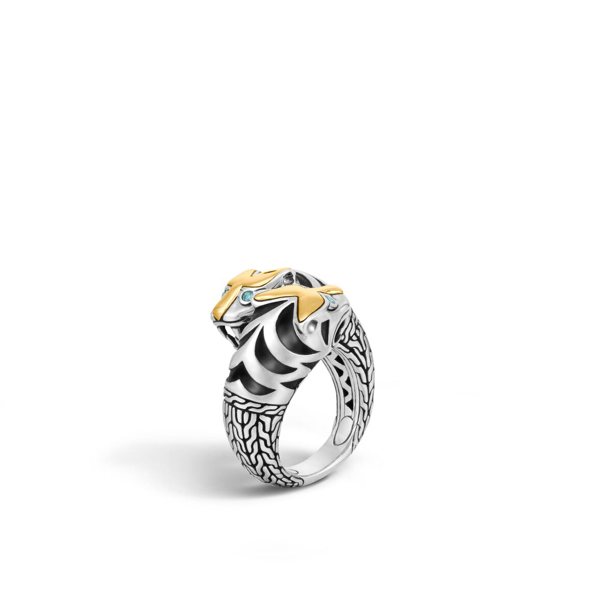 Legends Macan Double Head Bypass Ring, Silver and 18K Gold