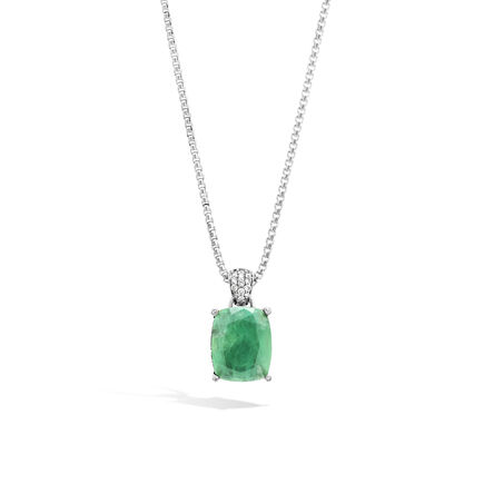 Magic Cut Pendant Necklace with Emerald and Diamonds