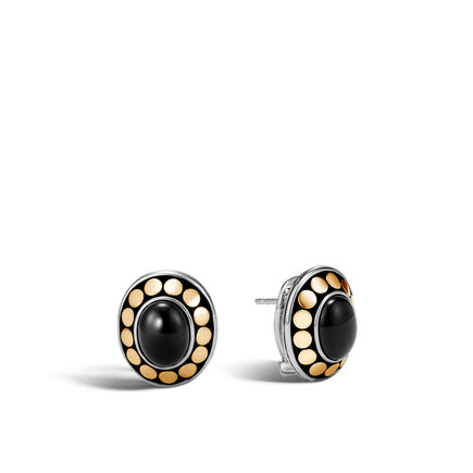 Dot Button Earring in Silver and 18K Gold, 9x7MM Gemstone