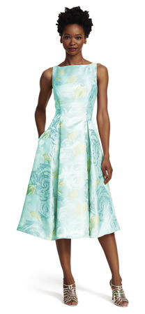 Sleeveless Boat Neck Floral Tea Length Dress