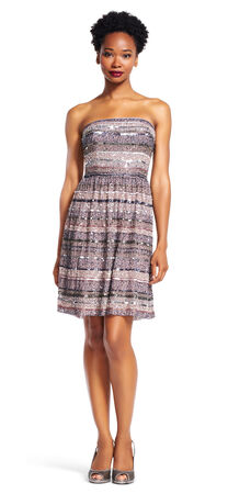 Strapless Party Dress with Beaded Sequin Stripes