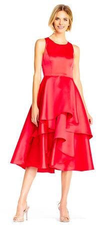 Mikado Midi Dress with Asymmetrical Layered Skirt