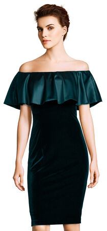 Off the Shoulder Velvet Sheath Dress with Charmeuse Ruffle Popover