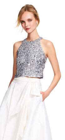 Sequin Halter Crop Top