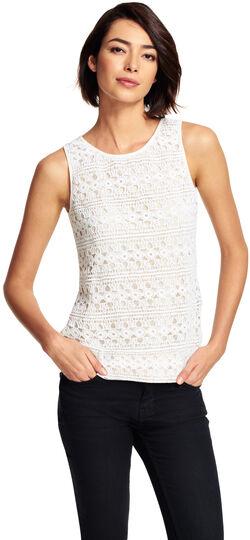 Scoop Neck Crochet Stripe Top