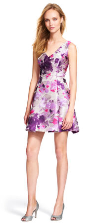 Metallic Floral Party Dress with Open Back