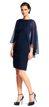 Banded Sheath Dress with Sheer Cape