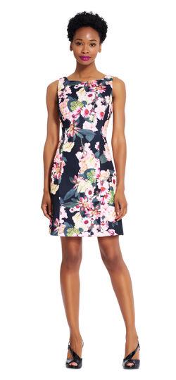 Floral A-line Scuba Dress