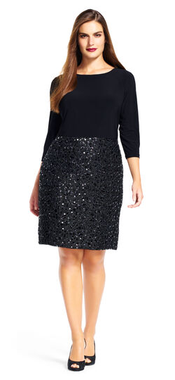 Three Quarter Sleeve Dress with Sequin Mesh Skirt
