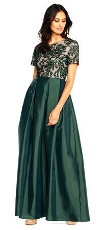 Short Sleeve Taffeta Ball Gown with Vine Beaded Bodice