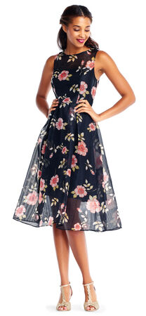 Sleeveless Floral Organza Midi Dress with Illusion Skirt and Neckline