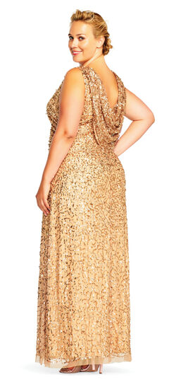 1930s Style Evening Dresses Sleeveless Sequin Beaded Gown with Cowl Back $339.00 AT vintagedancer.com