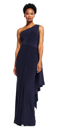 One Shoulder Jersey Dress with Draped Back