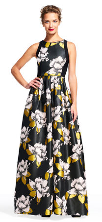 Floral Color Block Ball Gown with Pockets