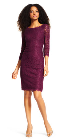 Lace cocktail sheath dress with Sheer Three Quarter Sleeves